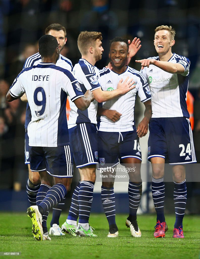 Saido Berahino (2ndR) of West Brom celebrates his goal with team mates during the Barclays Premier League match between West Bromwich Albion and Swansea City at The Hawthorns on February 11, 2015 in West Bromwich, England.