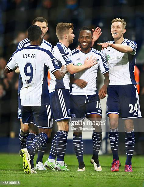 Saido Berahino of West Brom celebrates his goal with team mates during the Barclays Premier League match between West Bromwich Albion and Swansea...
