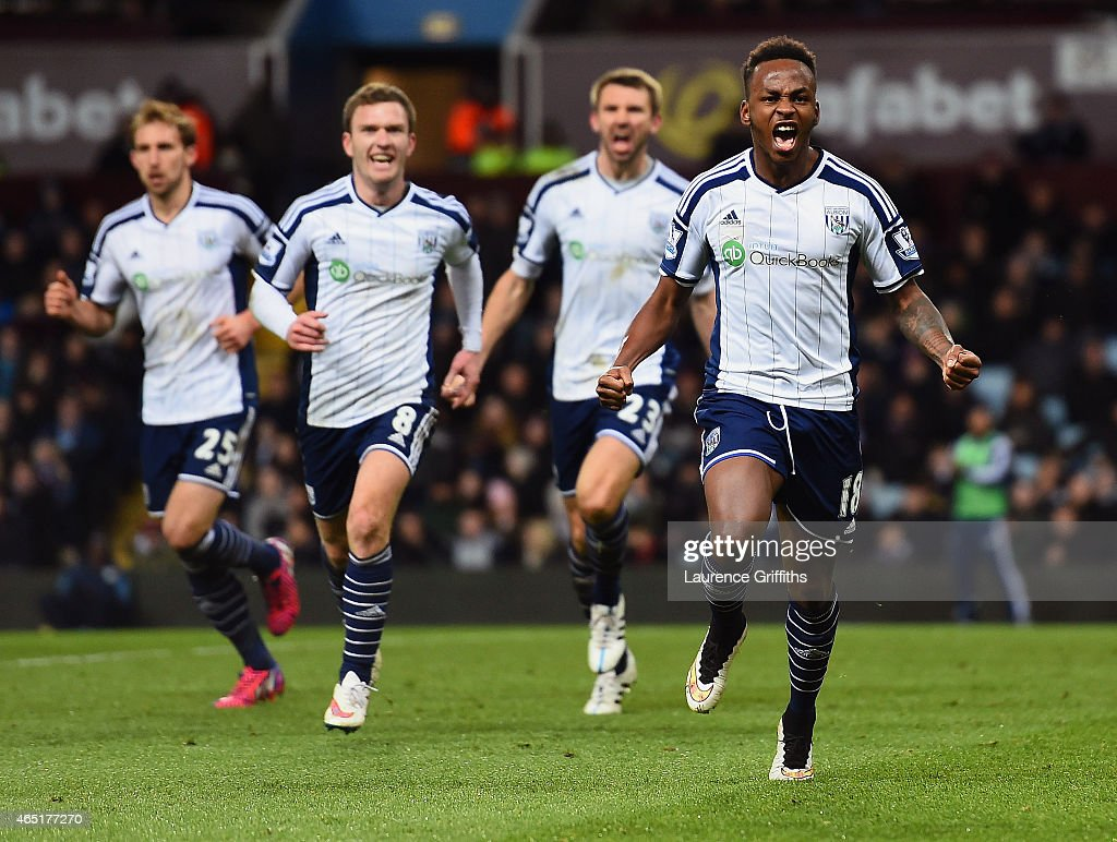 Saido Berahino of West Brom celebrates scoring their first goal during the Barclays Premier League match between Aston Villa and West Bromwich Albion at Villa Park on March 3, 2015 in Birmingham, England.