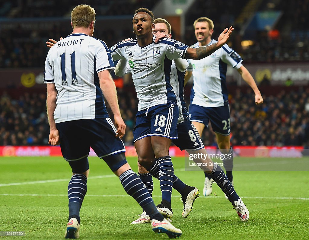 Saido Berahino of West Brom celebrates scoring their first goal with Chris Brunt and Craig Gardner of West Brom during the Barclays Premier League match between Aston Villa and West Bromwich Albion at Villa Park on March 3, 2015 in Birmingham, England.