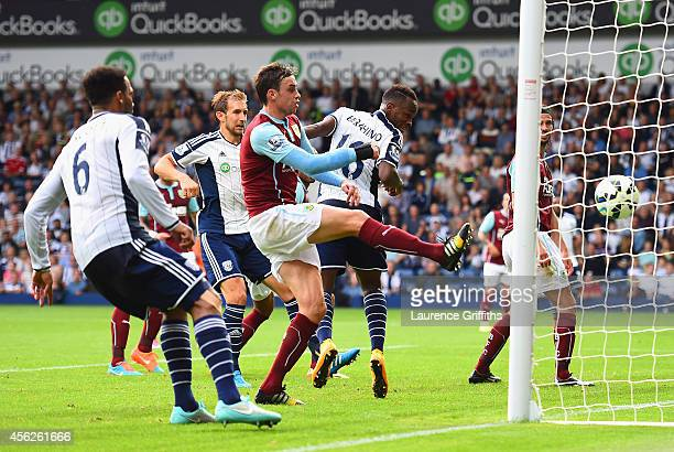 Saido Berahino of West Brom scores his team's second goal during the Barclays Premier League match between West Bromwich Albion and Burnley at The...