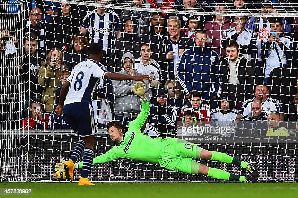 Saido Berahino of West Brom scores their second goal from the penalty spot past Wayne Hennessey of Crystal Palace during the Barclays Premier League...
