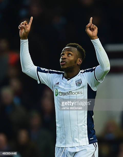 Saido Berahino of West Bromwich Albion as he scores their first goal during the Barclays Premier League match between West Ham United and West...