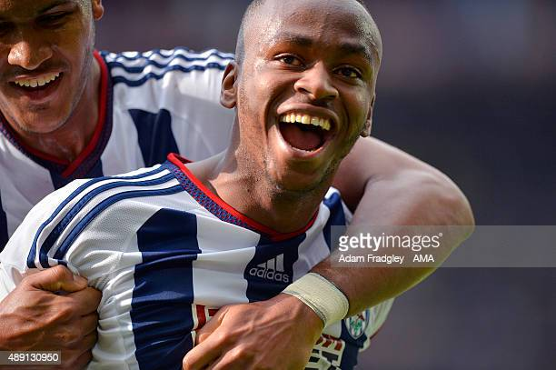 Saido Berahino of West Bromwich Albion celebrates after scoring a goal to make it 01 during the Barclays Premier League match between Aston Villa and...