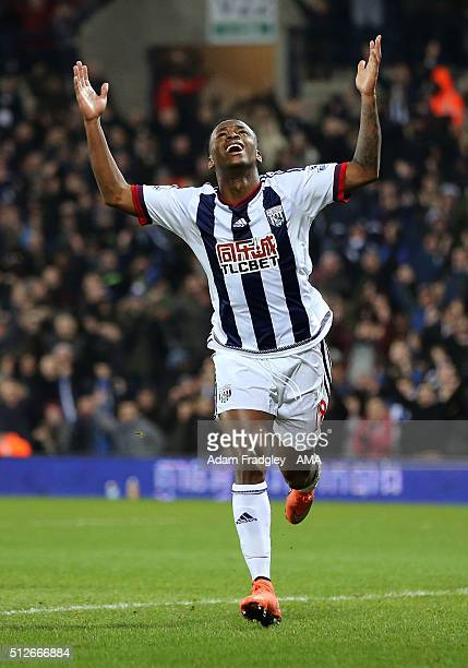 Saido Berahino of West Bromwich Albion celebrates after scoring a goal to make it 3-0 during the Barclays Premier League match between West Bromwich...