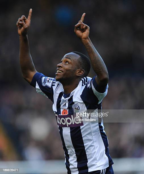 Saido Berahino of West Bromwich Albion celebrates scoring the opening goal during the Barclays Premier League match between West Bromwich Albion and...
