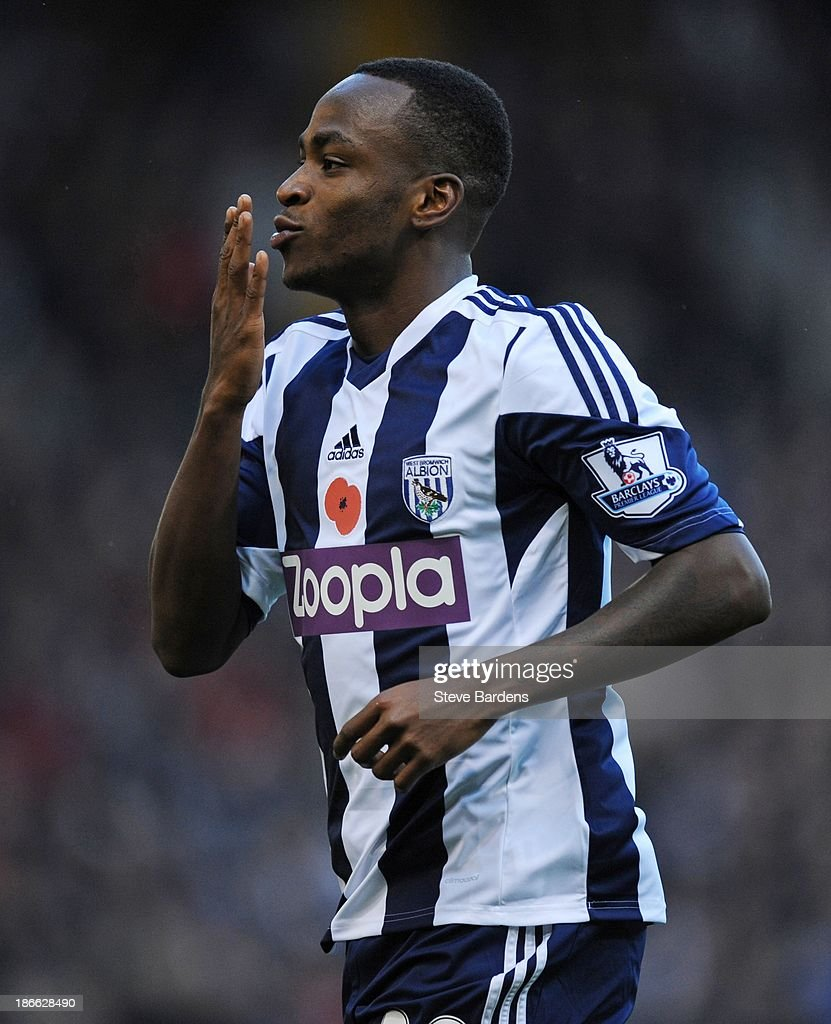 Saido Berahino of West Bromwich Albion celebrates scoring the opening goal during the Barclays Premier League match between West Bromwich Albion and Crystal Palace at The Hawthorns on November 2, 2013 in West Bromwich, England.