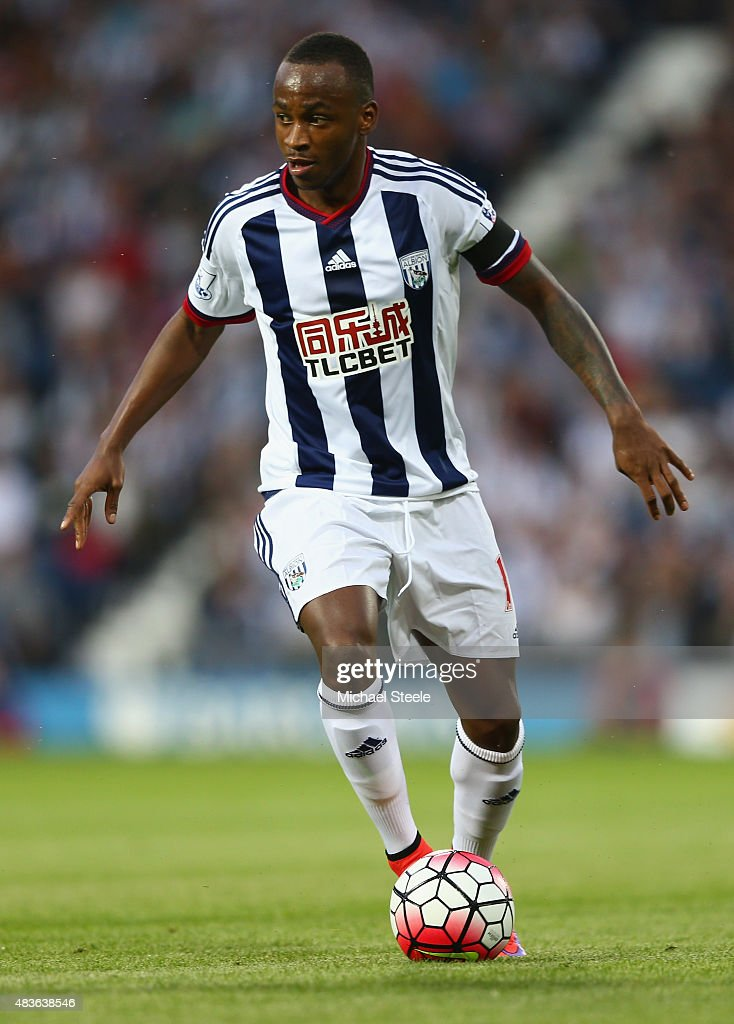 Saido Berahino of West Bromwich Albion during the Barclays Premier League match between West Bromwich Albion and Manchester City at The Hawthorns on August 10, 2015 in West Bromwich, England.