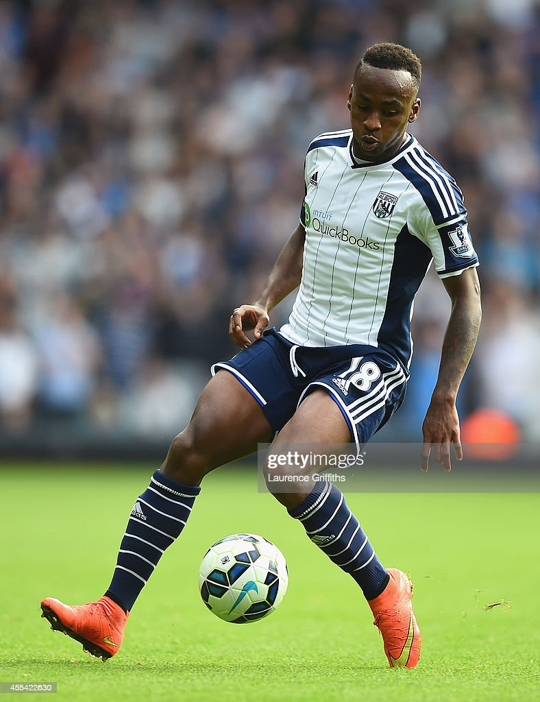 Saido Berahino of West Bromwich Albion in action during the Barclays Premier League match between West Bromwich Albion and Everton at The Hawthorns on September 13, 2014 in West Bromwich, England.