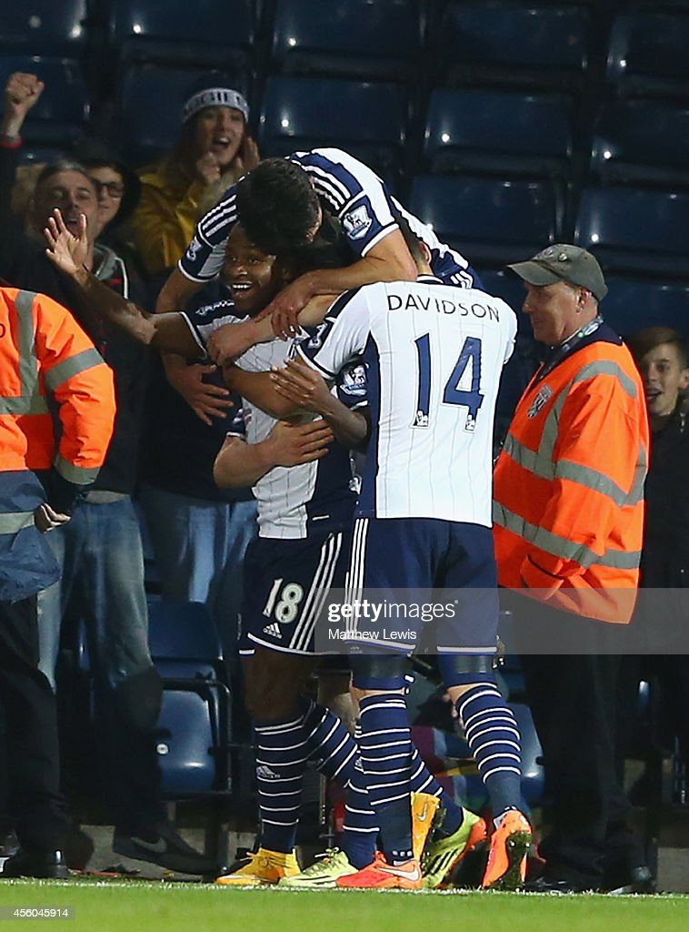 Saido Berahino of West Bromwich Albion is congratulated on his goal during the Capital One Cup Third Round match between West Bromwich Albion and Hull City at The Hawthorns on September 24, 2014 in West Bromwich, England.