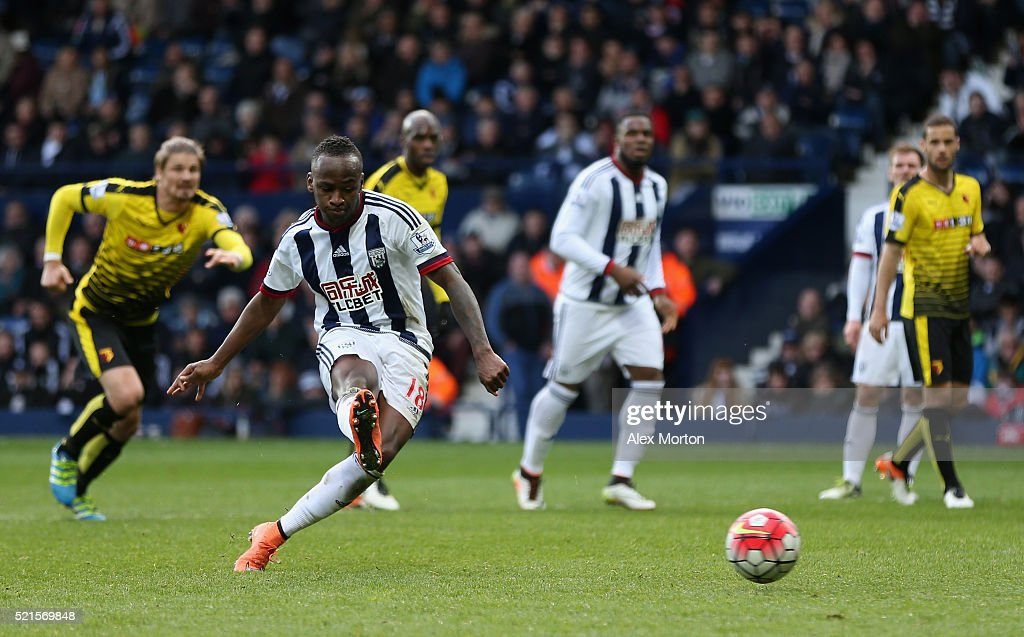Saido Berahino of West Bromwich Albion misses his second penalty during the Barclays Premier League match between West Bromwich Albion and Watford at The Hawthorns on April 16, 2016 in West Bromwich, England.