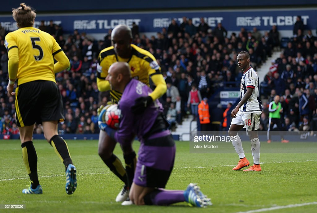 Saido Berahino of West Bromwich Albion reacts after failing to score his second penalty saved by Heurelho Gomes of Watford during the Barclays Premier League match between West Bromwich Albion and Watford at The Hawthorns on April 16, 2016 in West Bromwich, England.
