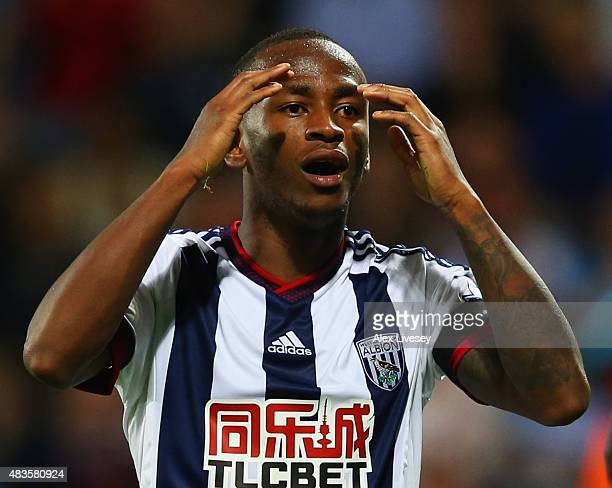 Saido Berahino of West Bromwich Albion reacts during the Barclays Premier League match between West Bromwich Albion and Manchester City at The...