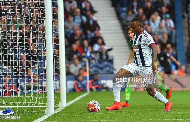 Saido Berahino of West Bromwich Albion scores a goal to make it 10 during the Barclays Premier League match between West Bromwich Albion and...