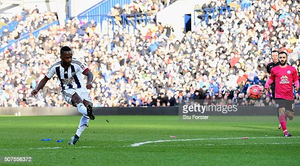 Saido Berahino of West Bromwich Albion scores his team's first goal during the Emirates FA Cup Fourth Round match between West Bromwich Albion and...