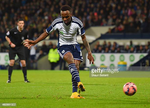 Saido Berahino of West Bromwich Albion scores their fourth goal and completes his hat-trick during the FA Cup Third Round match between West Bromwich...