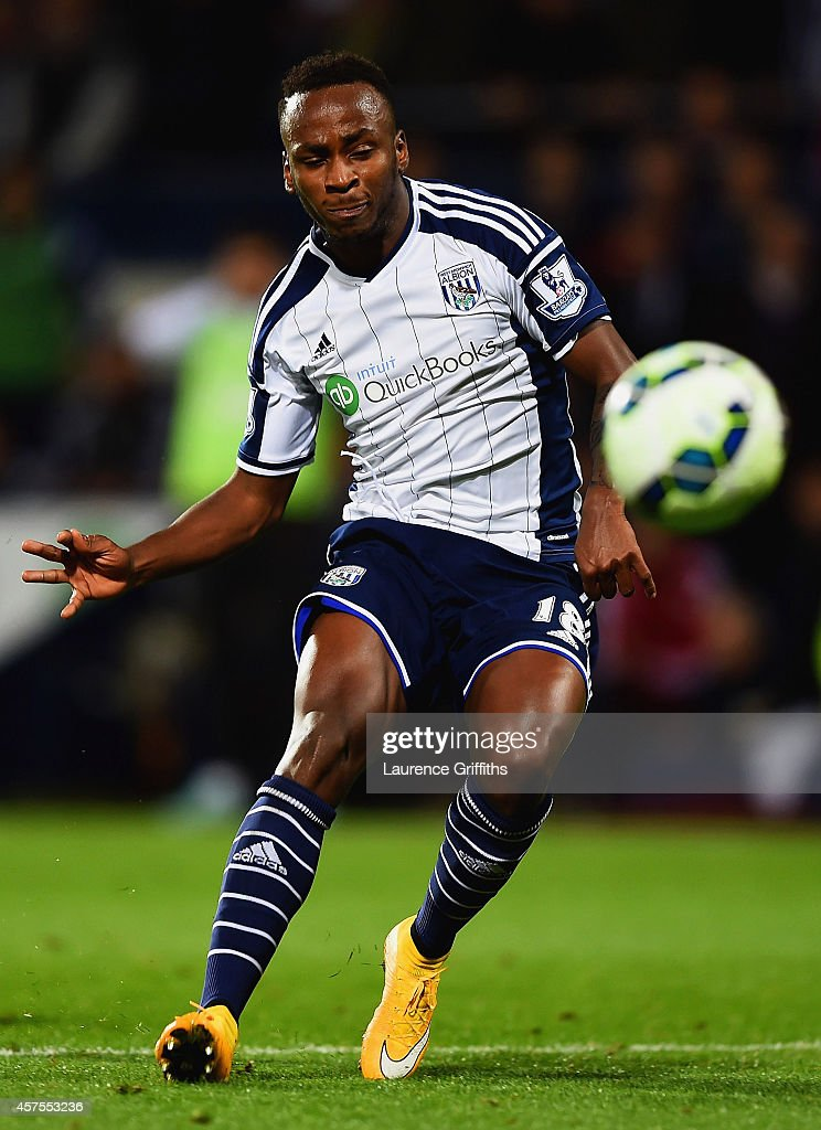 Saido Berahino of West Bromwich Albion scores their second goal during the Barclays Premier League match between West Bromwich Albion and Manchester United at The Hawthorns on October 20, 2014 in West Bromwich, England.