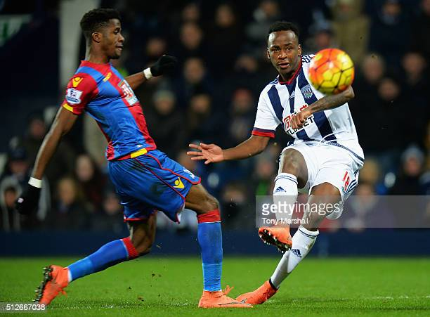 Saido Berahino of West Bromwich Albion shoots at goal hitting a cross bar during the Barclays Premier League match between West Bromwich Albion and...