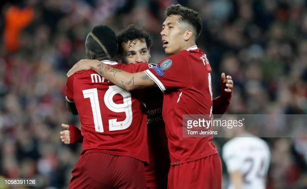 Saido Mane Mo Salah and Roberto Firmino celebrate the 3rd Liverpool goal scored by Mane during the Liverpool v Roma Champions League semifinal 1st...