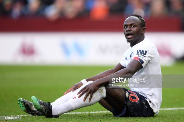 Saido Mane of LIverpool reacts during the Premier League match between Aston Villa and Liverpool FC at Villa Park on November 02 2019 in Birmingham...