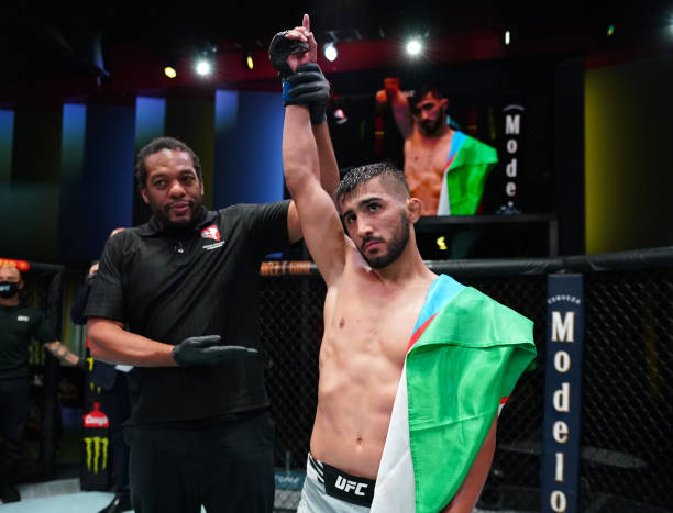 Saidyokub Kakhramonov of Uzbekistan reacts after his submission victory over Trevin Jones of Guam in a bantamweight fight during the UFC Fight Night...
