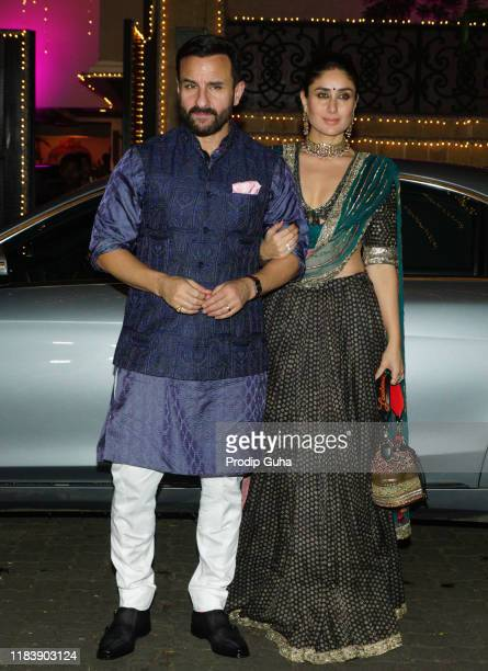Saif Ali Khan and his wife Kareena Kapoor Khan attend the Diwali Bash hosted by Actress Sonam Kapoor on October 27, 2019 in Mumbai, India.