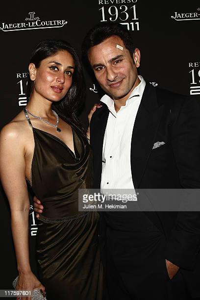 Saif Ali Khan and Kareena Kapoor attend the JaegerLeCoultre Reverso 80th Anniversary at Les BeauxArts de Paris on June 28 2011 in Paris France