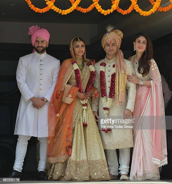 Saif Ali Khan and Kareena Kapoor with newly wedded couple Soha Ali Khan and Kunal Khemu in Mumbai