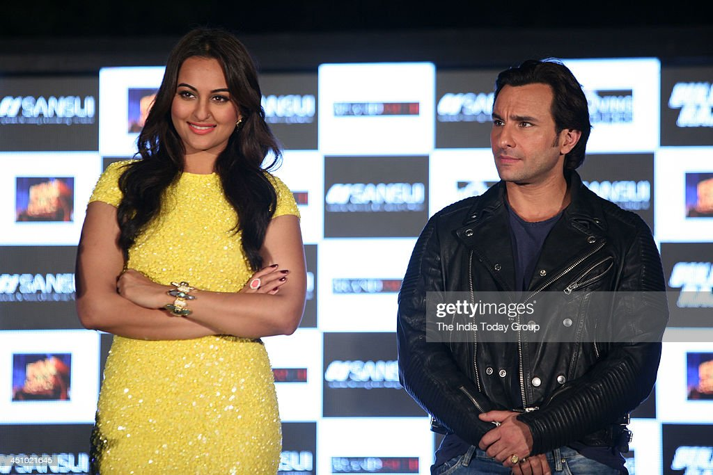 Saif Ali Khan and Sonakshi Sinha during the press conference for the movie Bullett Raja in Mumbai