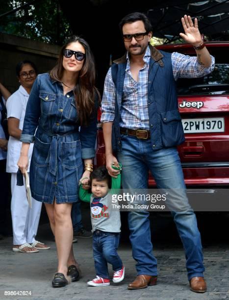 Saif Ali Khan Kareena Kapoor Khan and Taimur Ali Khan at Kapoors annual Christmas party in Mumbai