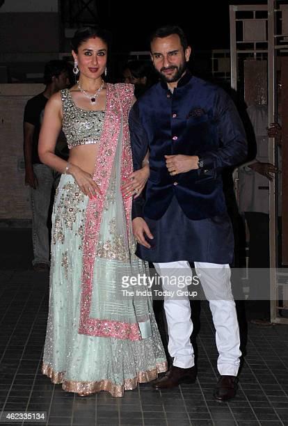 Saif Ali Khan with hs wife Kareena Kapoor at Soha Ali Khan and Kunal Khemus wedding reception in Mumbai