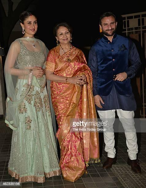 Saif Ali KhanKareena Kapoor and Sharmila Tagore at Soha Ali Khan and Kunal Khemus wedding reception in Mumbai