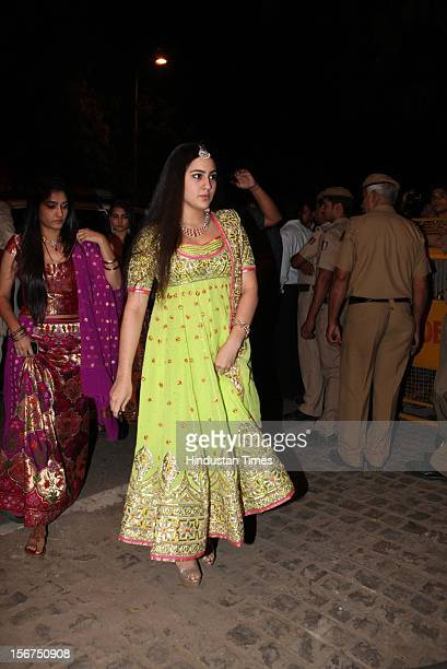 NEW DELHI INDIA OCTOBER 18 Saif Ali khan's daughter Sara Ali Khan during SaifKareena DawateWalima at 31 Aurangzeb Road 3 on October 18 2012 in New...