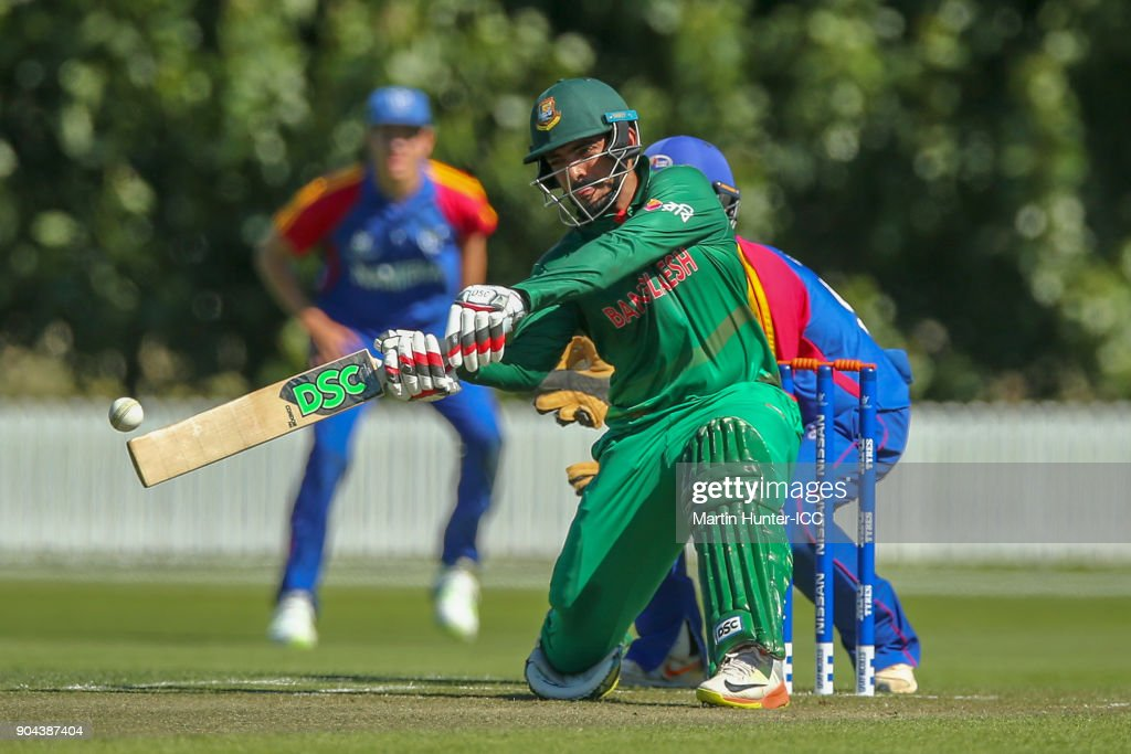 Saif Hassan of Bangladesh bats during the ICC U19 Cricket World Cup match between Bangladesh and Namibia at Bert Sutcliffe Oval on January 13, 2018 in Christchurch, New Zealand.