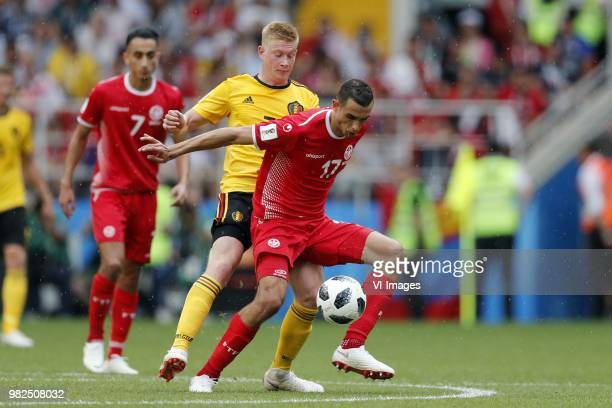 Saifeddine Khaoui of Tunisia Kevin De Bruyne of Belgium Ellyes Skhiri of Tunisia during the 2018 FIFA World Cup Russia group G match between Belgium...