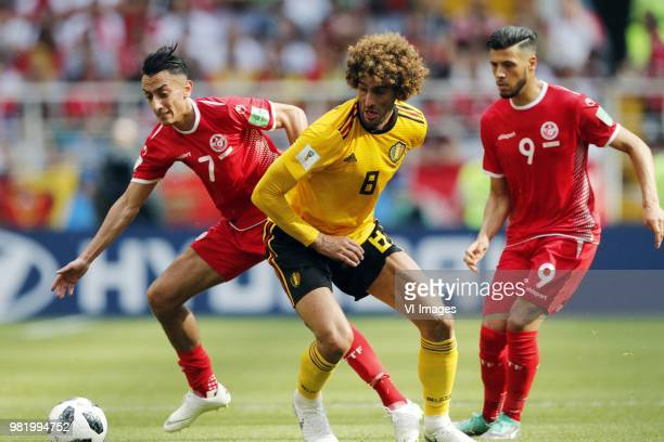 Saifeddine Khaoui of Tunisia Marouane Fellaini of Belgium Anice Badri of Tunisia during the 2018 FIFA World Cup Russia group G match between Belgium...