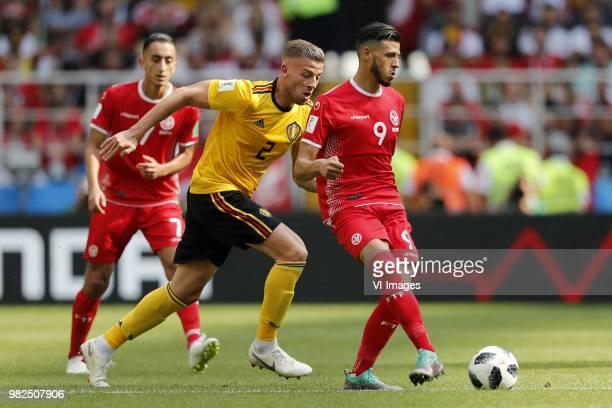 Saifeddine Khaoui of Tunisia Toby Alderweireld of Belgium Anice Badri of Tunisia during the 2018 FIFA World Cup Russia group G match between Belgium...