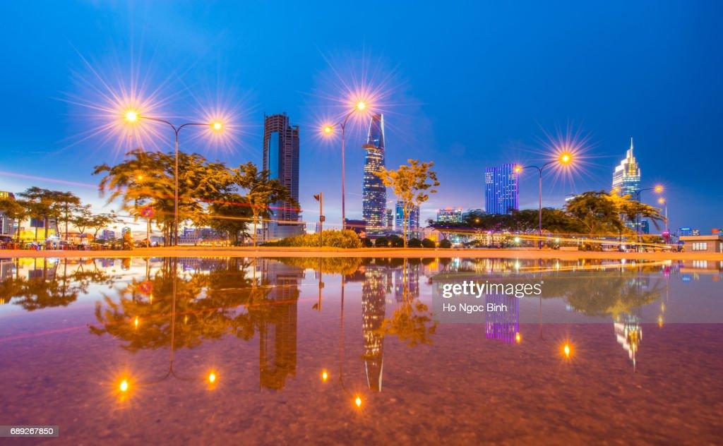 Saigon blue hour over  reflection - Saigon the biggest city in Vietnam : Stock Photo