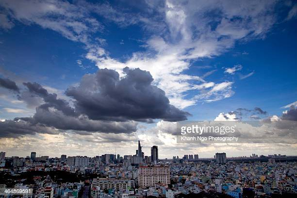 saigon cityscape - khanh ngo stock pictures, royalty-free photos & images