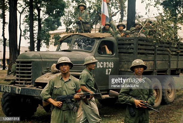 Saigon in Vietnam on April 30 1975 A truck loaded with North Vietnamese soldiers during the capture of Saigon April 30 1975