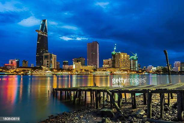 saigon night skyline, vietnam - ho chi minh city stock pictures, royalty-free photos & images