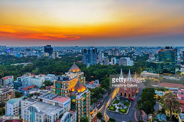 Saigon Notre Dame Cathedral in the beautiful sunset