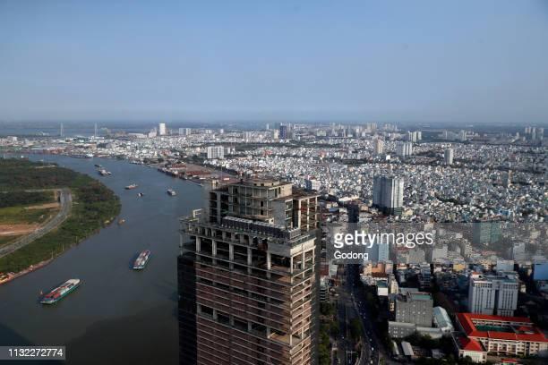 Saigon river and cityscape of Ho Chin Minh Skyline Saigon Vietnam