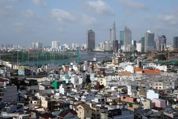 Saigon river Ho Chi Minh city skyline Ho Chi Minh City Vietnam