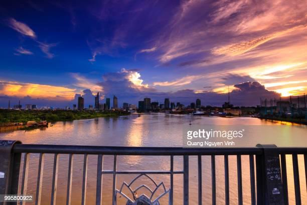 Saigon Riverside (view from Thu Thiem) in the suns