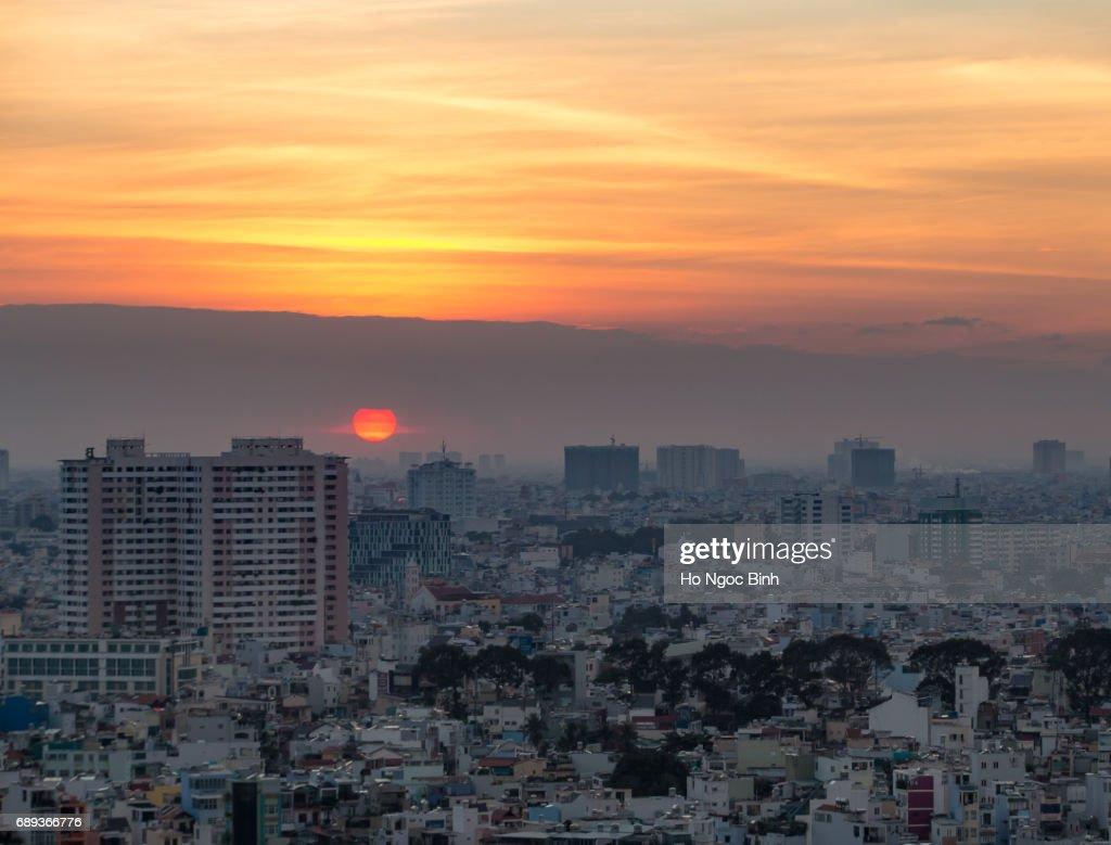 Saigon skyline in sunset : Stock Photo