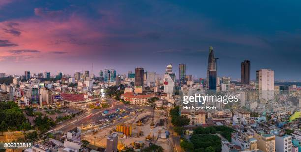 saigon skyline of business and administrative district of saigon - people's committee building ho chi minh city stock pictures, royalty-free photos & images