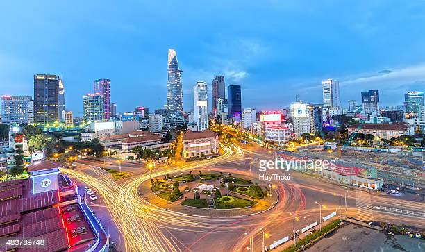 saigon sparkling at night - ho chi minh city stock pictures, royalty-free photos & images