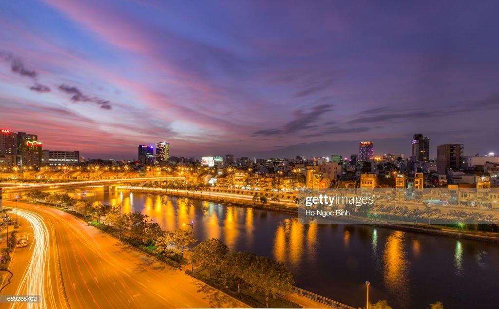 Saigon/hochiminh city by night : Stock Photo