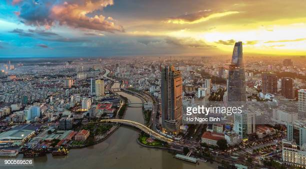 saigon/hochiminh city from above - vietnam stockfoto's en -beelden